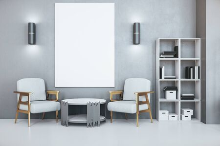 Contemporary office waiting room with blank poster on wall, two armchairs and bookcase with folders. Workplace and lifestyle concept. 3d rendering