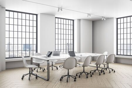 Modern office interior with two window, daylight, furniture and city view. Workplace and company concept. 3D Rendering