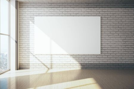 Minimalistic exhibition interior with city view and empty poster on brick wall. Art and design concept. Mock up, 3D Rendering