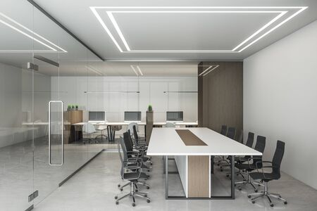Contemporary office interior with computers and meeting table. Workplace and lifestyle concept. 3D Rendering