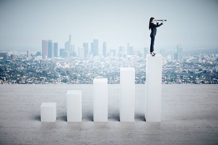 Businesswoman standing on abstract stock chart with telescope on city background. Success and forward concept.