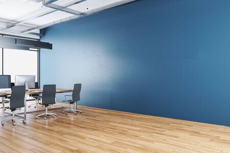 Luxury coworking office interior with city view and empty blue wall. Workplace and corporate concept. 3D Rendering