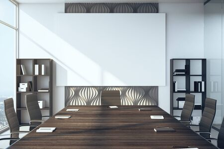 Modern conference interior with empty billboard on wall and daylight.  Workplace and lifestyle concept. 3D Rendering 版權商用圖片