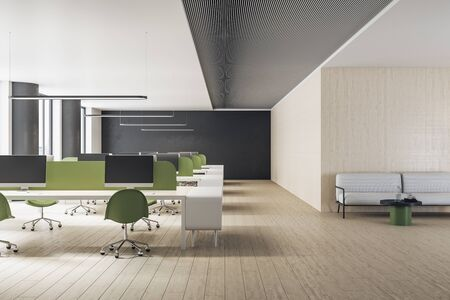 Modern coworking office interior with computers, furniture and sofa. Workplace and company concept. 3D Rendering