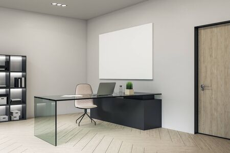 Contemporary director's office with laptop on glasses table and blank poster on wall. Workplace and lifestyle concept. 3D Rendering