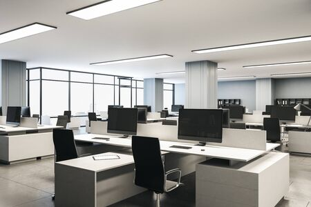 Modern interior office with computers on desk and megapolis city view. Workplace and company concept. 3d rendering