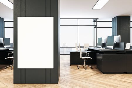 Modern office interior with blank vertical banner on wall, daylight, furniture and equipment. Workplace and company concept. 3D Rendering