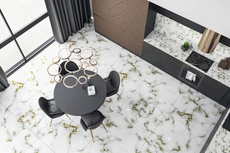 Top view of loft kitchen interior with furniture, city view and marble floor. Design and style concept. 3D Rendering