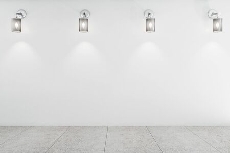 White exhibition hall interior and blank concrete wall. Gallery concept. Mock up, 3D Rendering