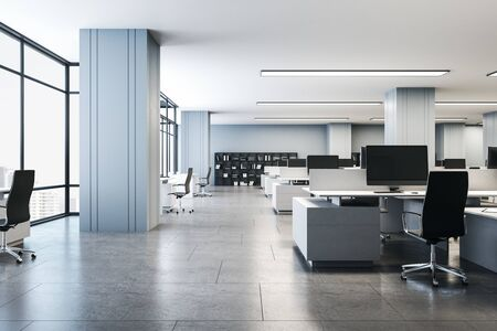 Contemporary interior office with computers on desk. Consulting company concept. 3d rendering