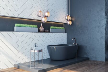 Clean bathroom interior with black bath and decorative objects. Style and hygiene concept. 3D Rendering