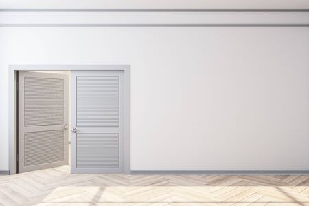 Modern home interior with door and empty white wall. Art and design concept. Mock up, 3D Rendering Banco de Imagens