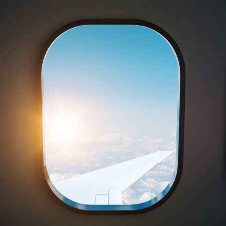 Aircraft porthole with blue sky. Flight and travel concept. 3d rendering