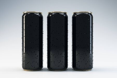 Front view of three black beverage drink cans with water drops. Food and drink concept. Mock up. 3D Rendering