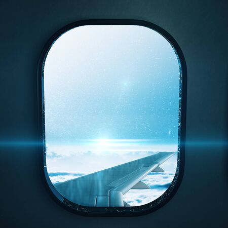 Aircraft porthole, with wing and blue sky. Flight and travel concept. 3d rendering