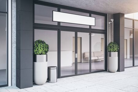 Entrance of contemporary office building with plants. Business corporate and company concept. 3d rendering