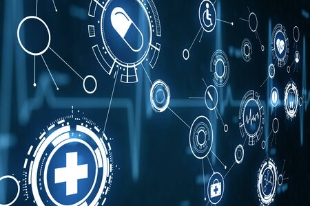 Glowing blue medical interface on virtual screen. Medicine and science concept. 3D Rendering Stock fotó