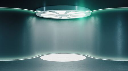 Modern futuristic monochrome hall with luminous disc on the ceiling. Future and design concept. Mock up. 3D Rendering