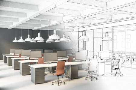Drawing office space with tables and chairs, computers and office supplies. Workplace and corporate concept. 3D Rendering