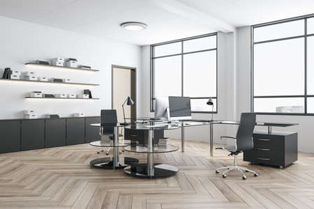 Contemporary workplace with computer on table and shelf with books. Workplace and corporate concept. 3D Rendering Banco de Imagens