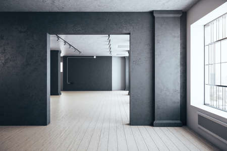 Minimalistic concrete interior room with window and blank gray wall. Performance and presentation concept. 3D Rendering