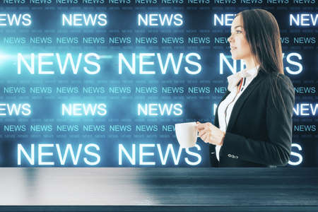 Attractive businesswoman with cup of coffee and glowing news hologram interface. News and information concept.
