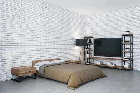 Modern bedroom with tv and blank brick wall. Design and style concept. 3D Rendering 免版税图像