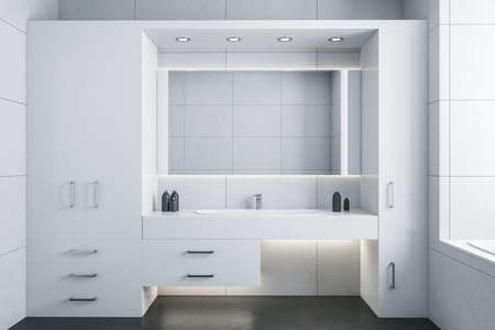 Clean white bathroom with mirror and comfortable washbasin. Style and hygiene concept. 3D Rendering 免版税图像