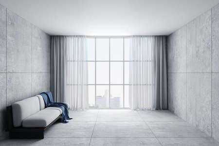 Minimalistic living room with sofa, curtains and blank concrete wall. Design and style concept. 3D Rendering Archivio Fotografico