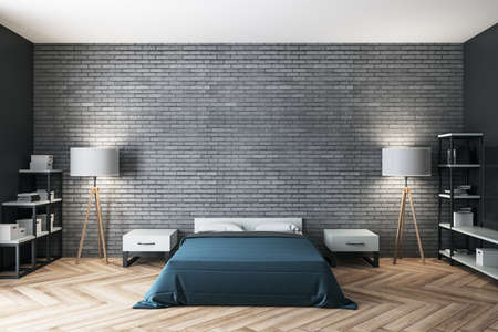 Minimalistic bedroom with blue cover and blank brick wall. Design and style concept. 3D Rendering