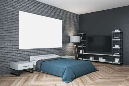 Modern bedroom interior with tv and empty billboard on wall. Art and design concept. Mock up, 3D Rendering 免版税图像