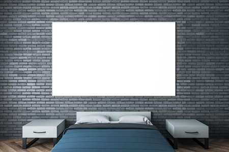 Luxury bedroom interior with blue cover and empty poster on brick wall. Art and design concept. Mock up, 3D Rendering 免版税图像