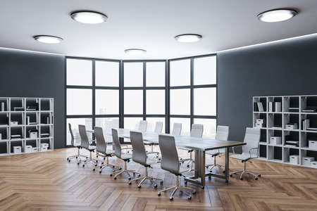 Modern meeting room interior with panoramic city view and daylight. Business and teamwork concept. 3D Rendering