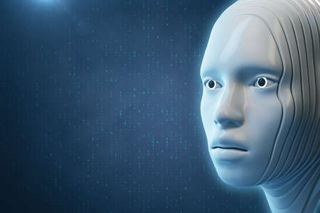 Cyborg digital head on blue background. Artificial intelligence and future concept. 3D Rendering 免版税图像