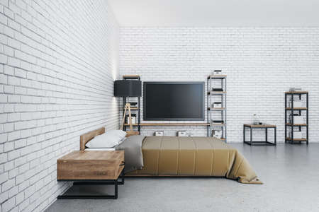 Luxury bedroom interior with tv, furniture and blank brick wall. Design and style concept. 3D Rendering