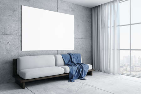 Minimalistic living room with sofa and blank poster on concrete wall. Art and design concept. 3D Rendering 免版税图像