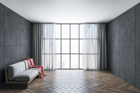 Minimalistic room with sofa, curtains, blank wall and panoramic city view. Design and style concept. 3D Rendering 免版税图像
