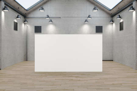 Minimalistic warehouse interior with empty billboard. Design and style concept. Mock up, 3D Rendering 免版税图像