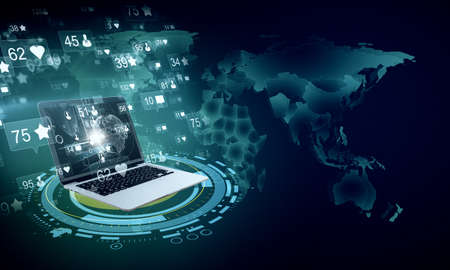 Laptop with global remote work interface hologram on blue world map. Global remote access chain communication concept. 3D Rendering