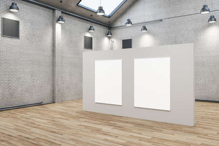 Modern brick warehouse interior with two empty posters on wall. Design and style concept. Mock up, 3D Rendering 免版税图像