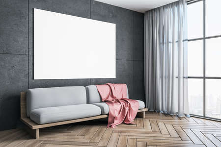 Modern living room with sofa, curtains and blank banner on wall. Design and style concept. 3D Rendering