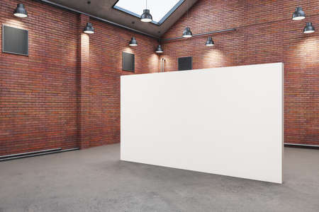 Red brick warehouse interior with blank poster. Design and style concept. Mock up, 3D Rendering