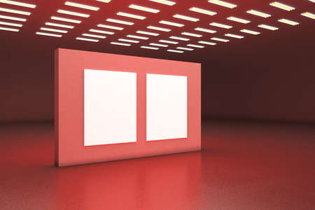 Minimalistic red gallery interior with two empty banners on wall. Museum and exhibition concept. Mock up, 3D Rendering