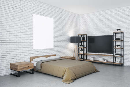 Modern bedroom with tv and blank billboard on brick wall. Design and style concept. 3D Rendering