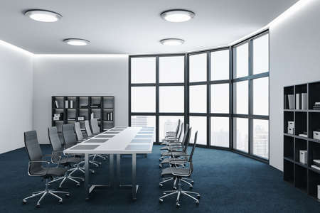 Minimalistic white conference room interior with furniture, panoramic city view and shelf with docments. 3D Rendering Zdjęcie Seryjne
