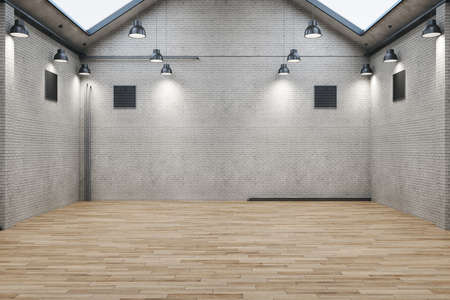 Contemporary brick warehouse interior with wooden floor. Design and style concept. Mock up, 3D Rendering