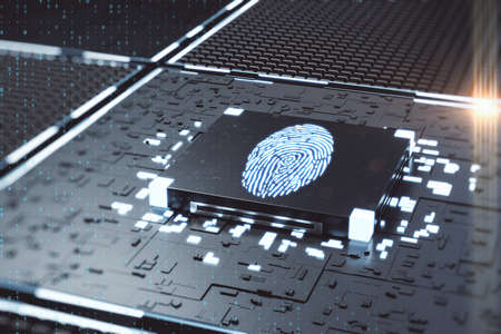 Digital circuit board and microchip and fingerprint. AI and electronic concept. 3D Rendering
