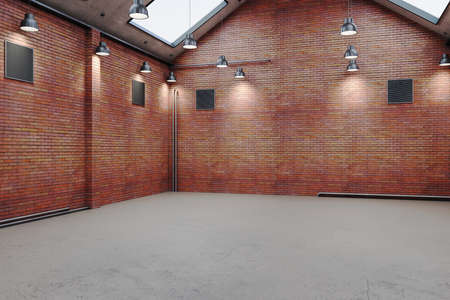 Modern warehouse interior with red brick and daylight. Industrial and exhibition concept. 3D Rendering