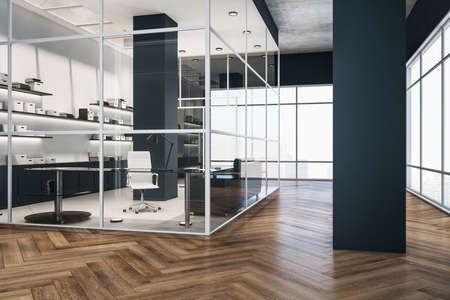 Contemporary glass office interior with table and document in shelf. Workplace and company concept. 3D Rendering