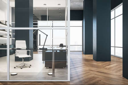 Modern glass office interior with city view and shelf with books. Workplace and company concept. 3D Rendering